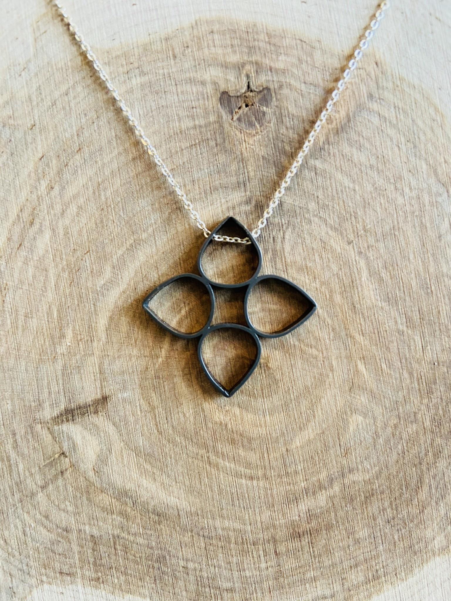 Black Rhodium Flower Necklace