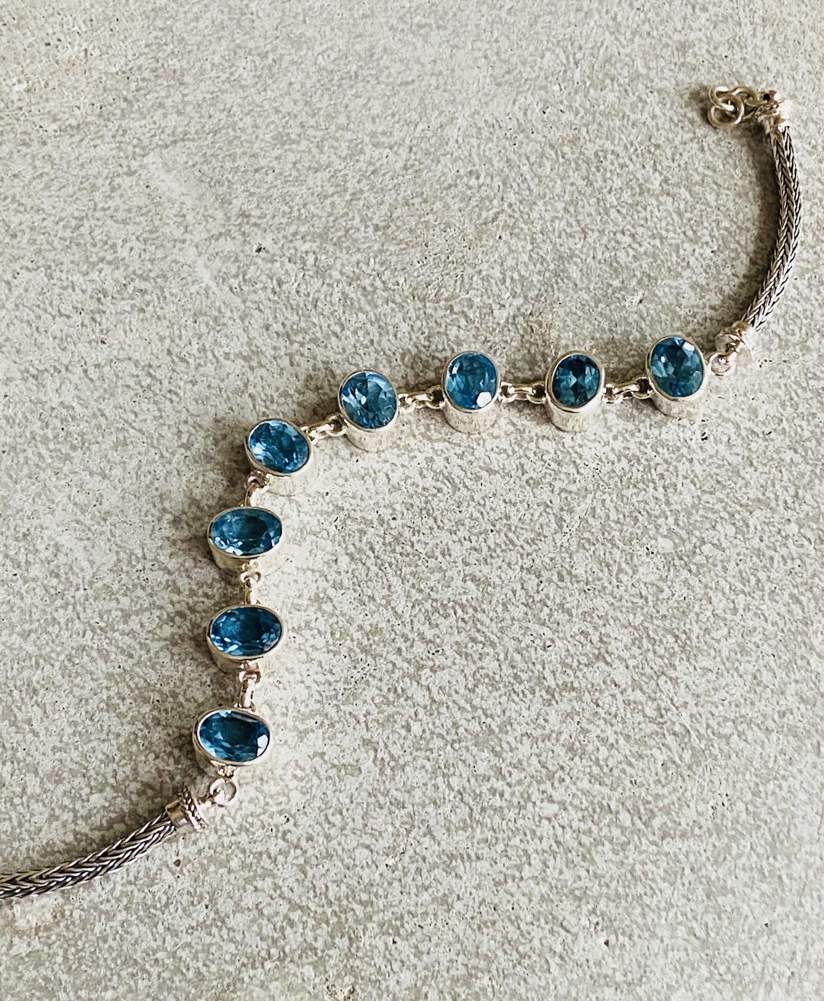 Blue Topaz Oval Bracelet