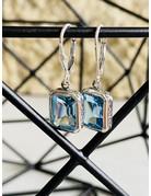 Blue Topaz Detailed Rectangle Earrings