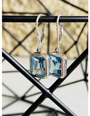 Blue Topaz Detailed Rectangle Earrings