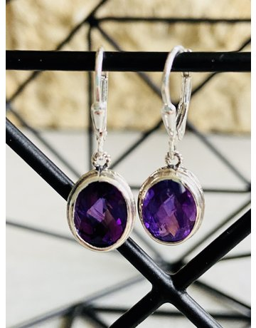 Faceted Amethyst Oval Earrings