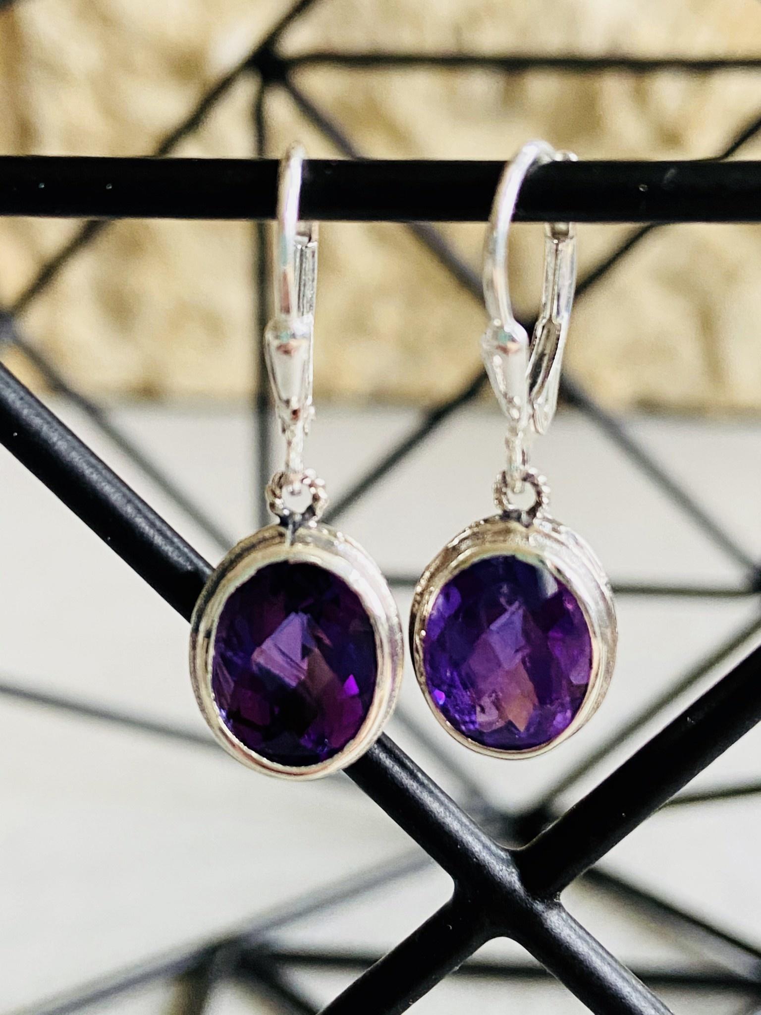 Faceted Amethyst Oval Earrings