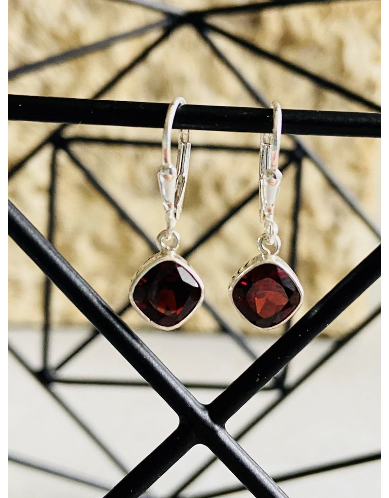 Square Drop Garnet Earrings
