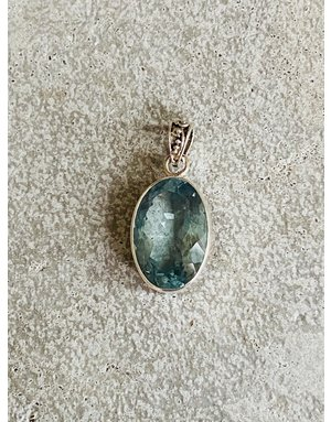 Faceted Aquamarine Oval Pendant