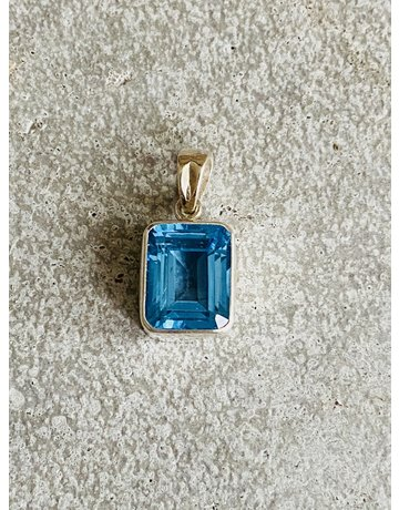 Emerald Cut Blue Topaz Pendant
