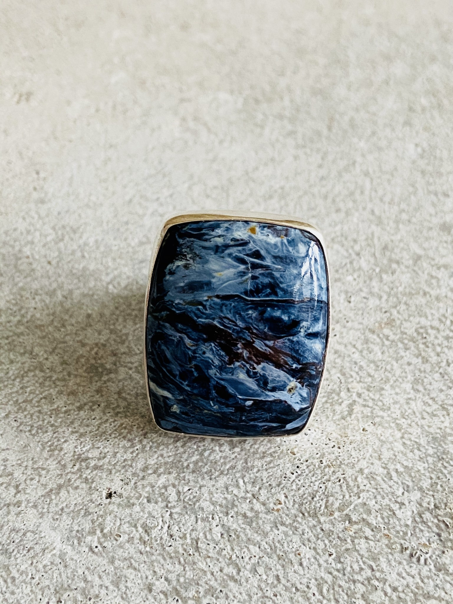 Pietersite Rectangle Ring - Size 7