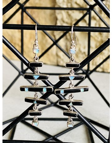Onyx & Opal Bar Dangle Earrings