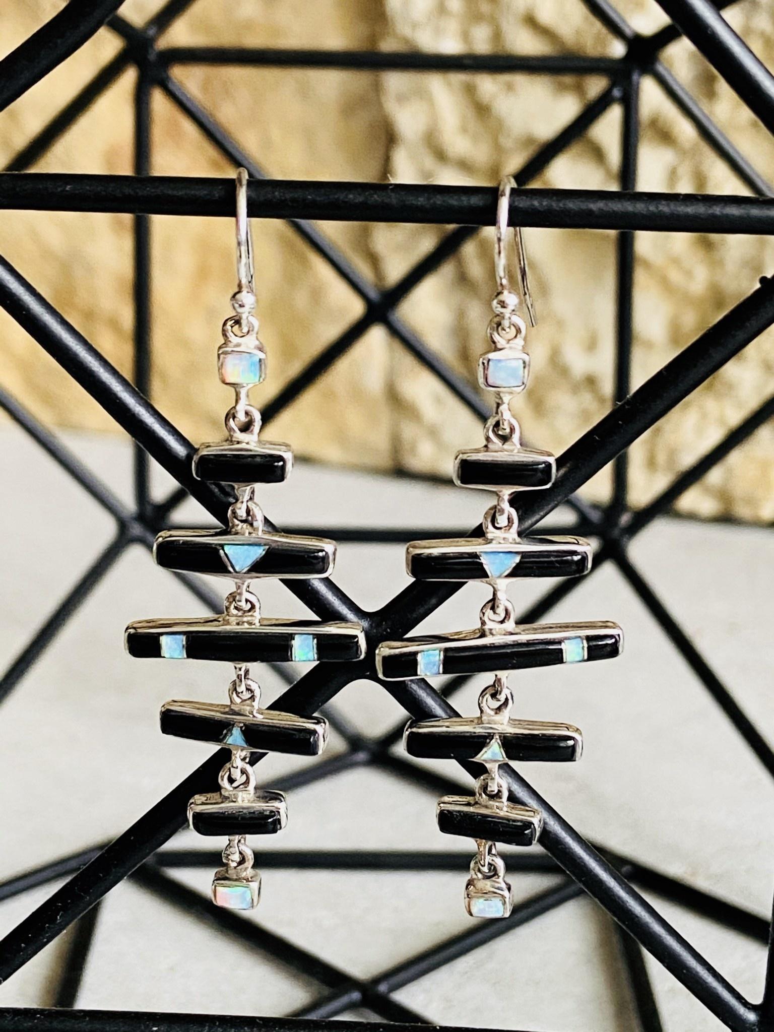Onyx & Opal Bar Dangle Earrings