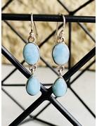 Double Dangle Larimar Earrings