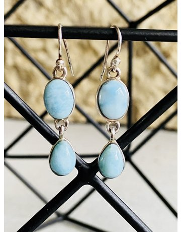 Double Dangle Larimar Earrings