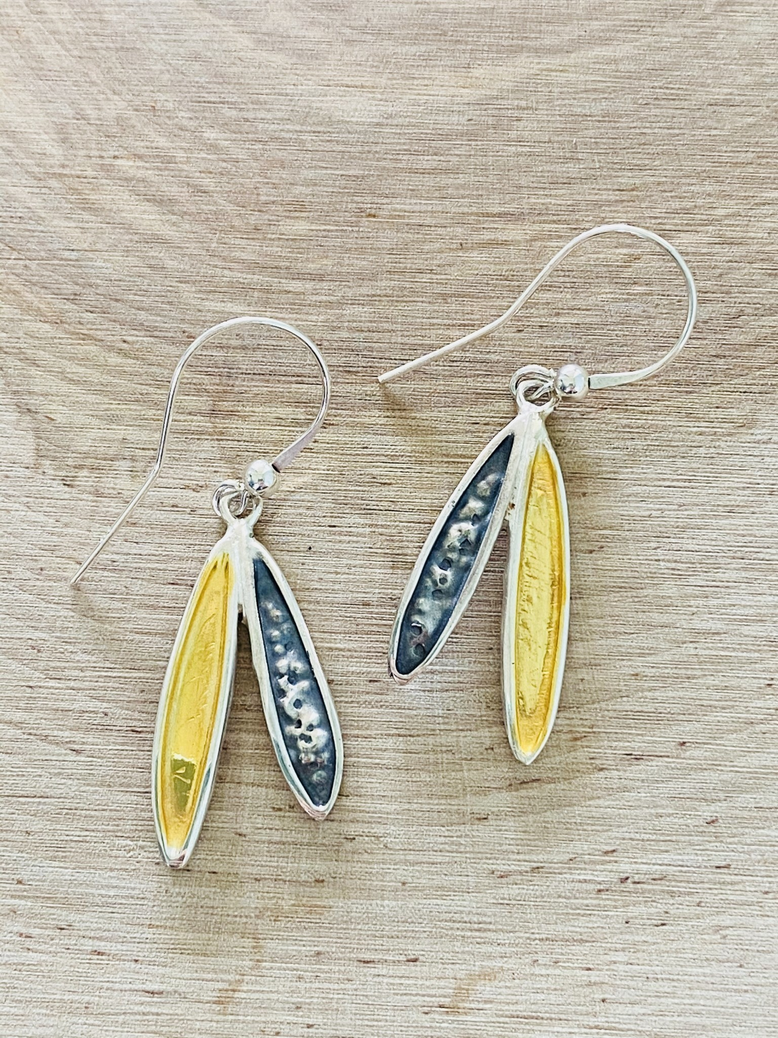 Oxidized Sterling & Gold Filled Wing Earrings