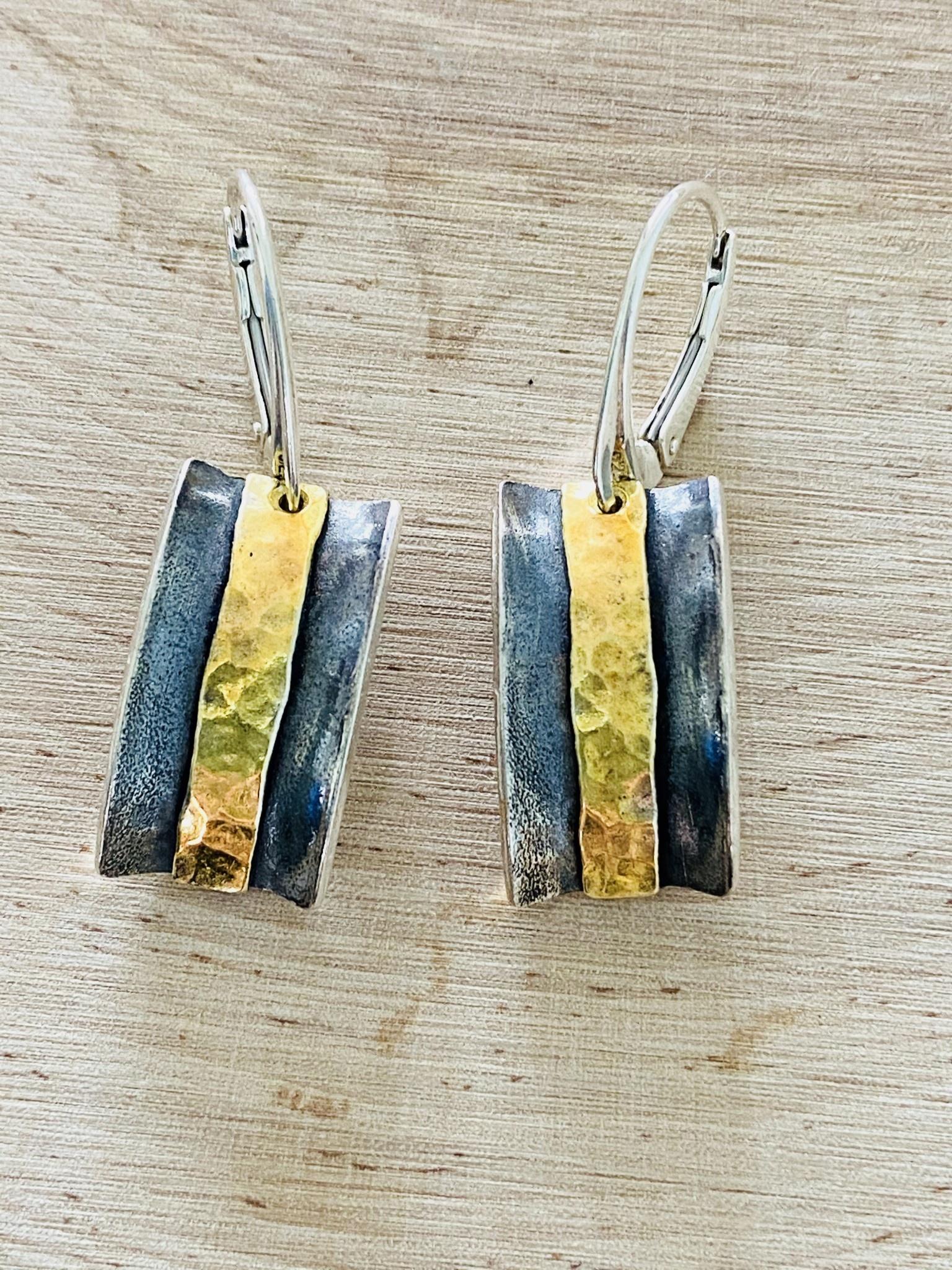 Oxidized Sterling & Gold Filled Bar Earrings