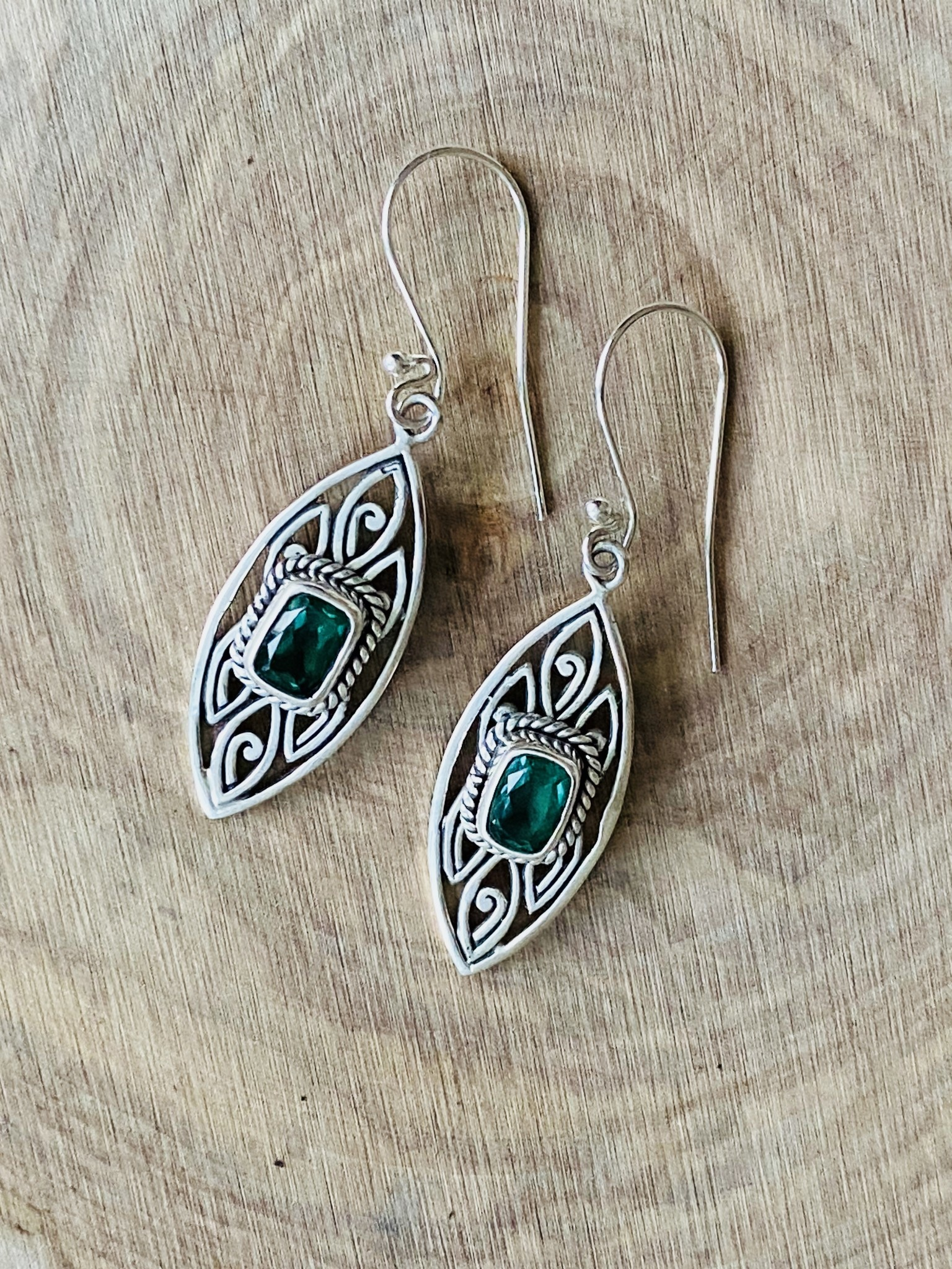 Green Quartz Drop Earrings
