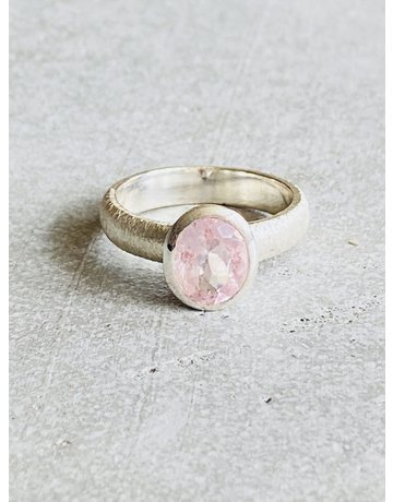 Brushed Silver Morganite Ring - Size 8