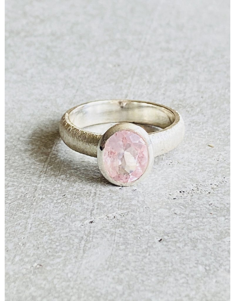 Brushed Silver Morganite Ring - Size 8