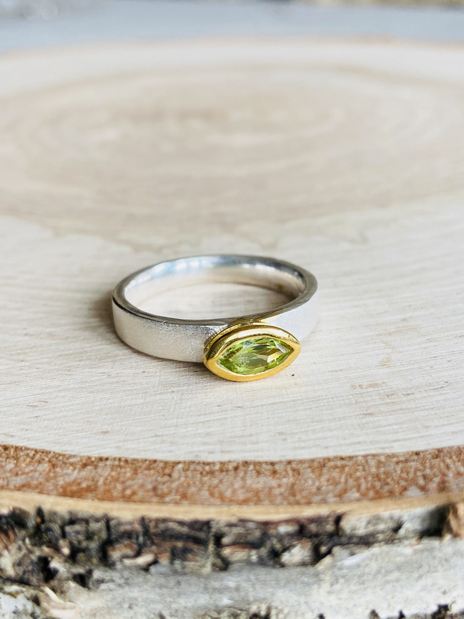 Brushed Sterling Peridot Ring - Size 9