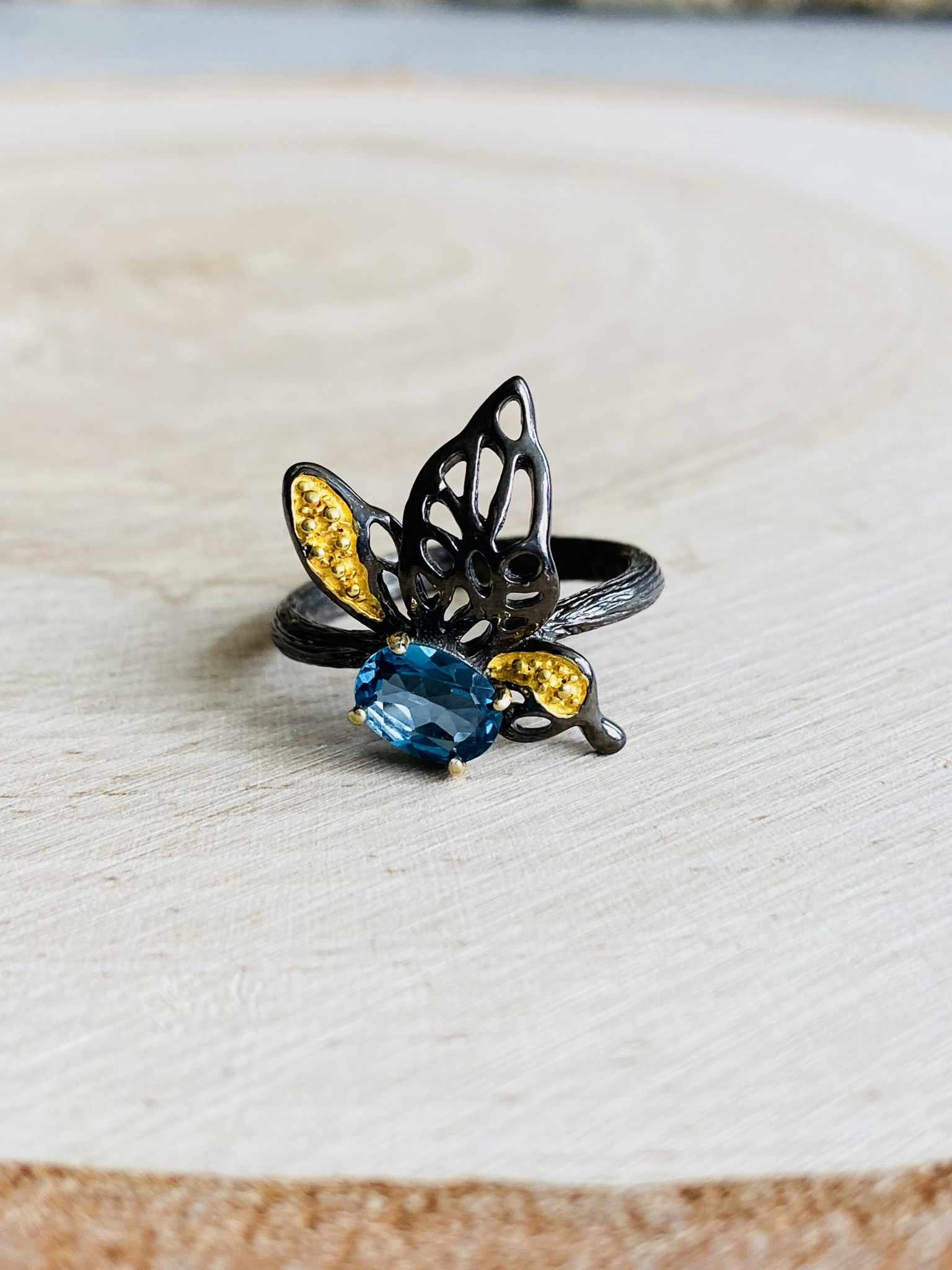 Blue Topaz Insect Ring - Size 7