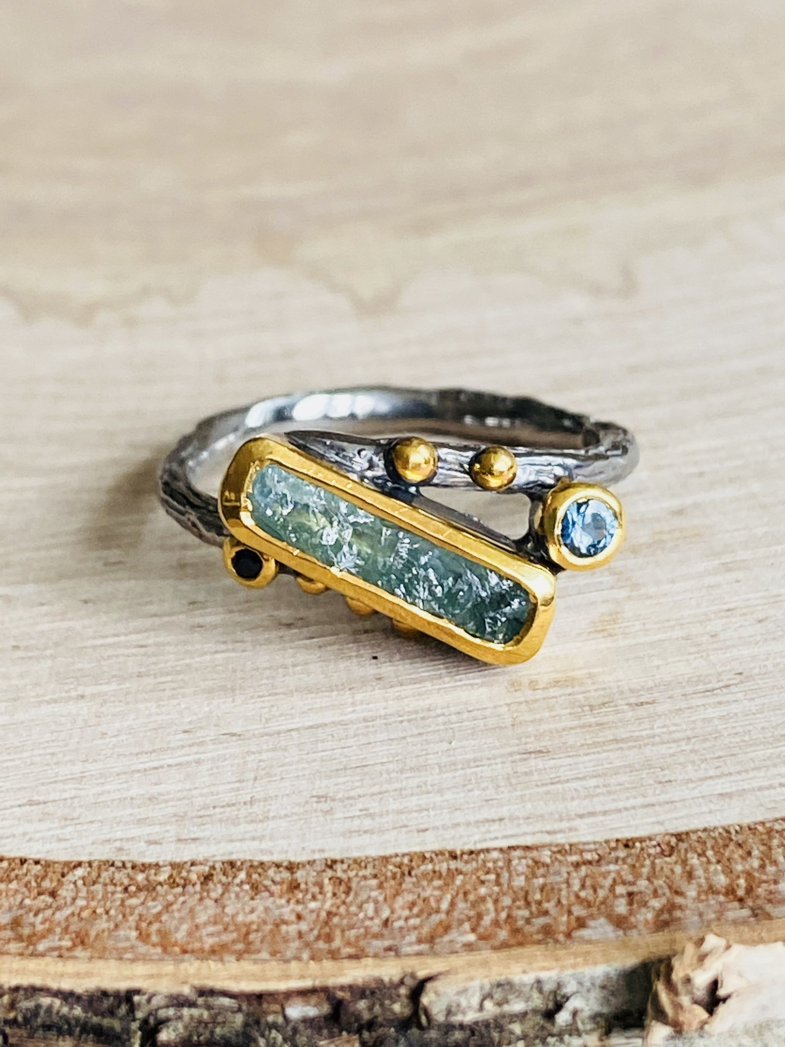 Oxidized Sterling & Vermeil Aquamarine Ring - Size 7