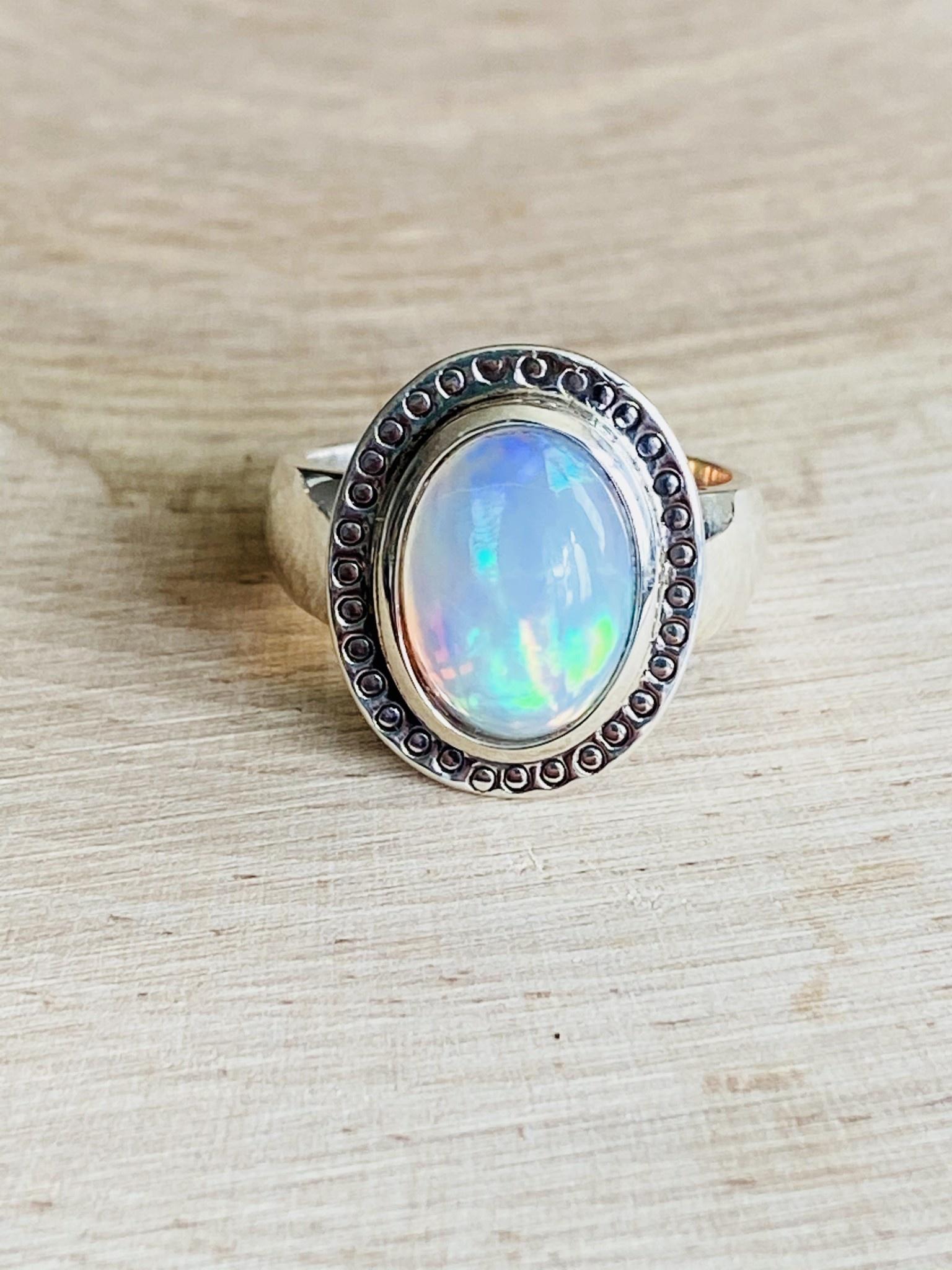 Ethiopian Opal Ring w/Stamped Circles