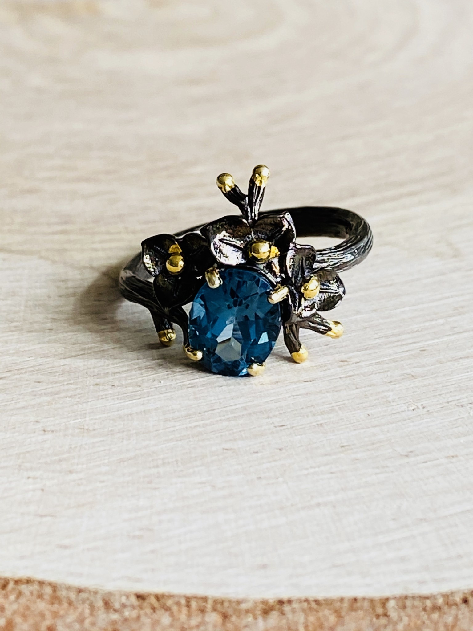 Blue Topaz Flower Crown Ring - Size 8