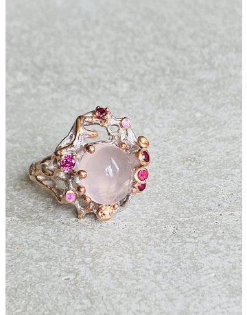 Rose Quartz & Tourmaline Ring - Size 6