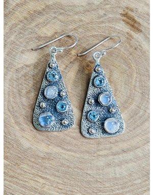 Blue Topaz & Rainbow Moonstone Earrings