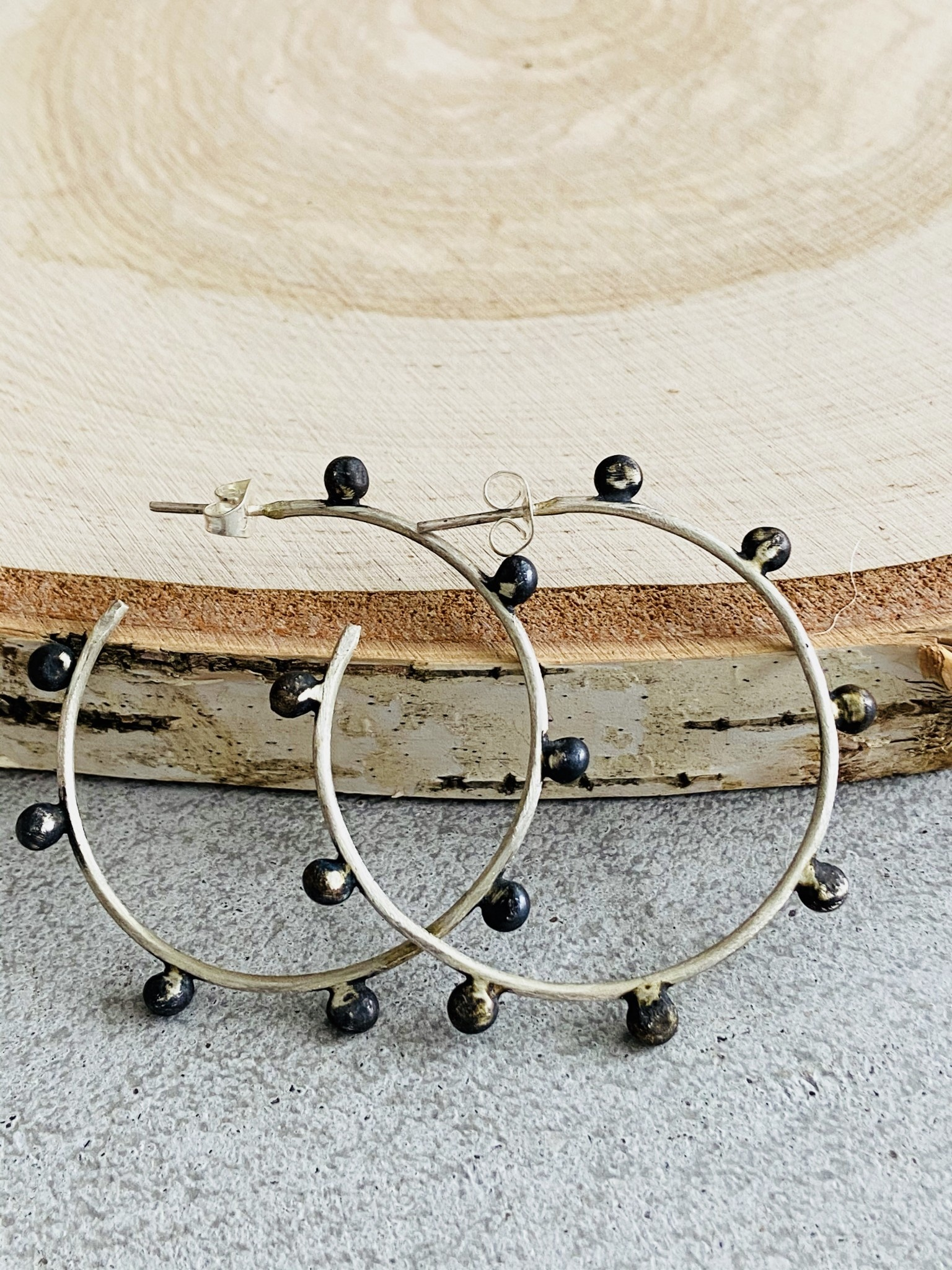 Brushed Sterling w/Oxidized Dot Hoops -Sm
