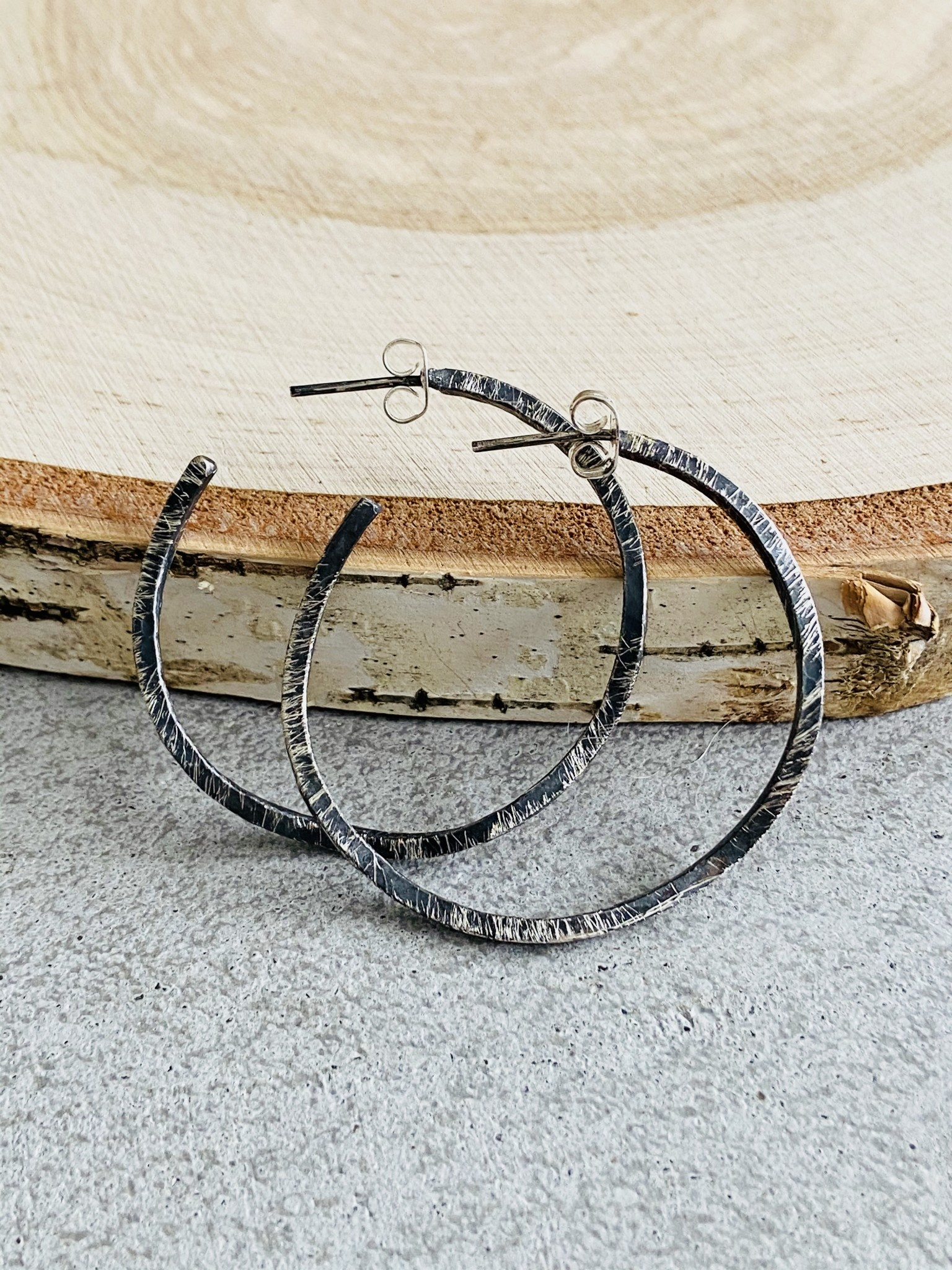 Oxidized Sterling Wonky Hoops