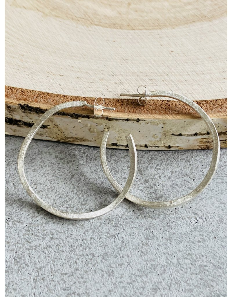 Brushed Sterling Wonky Hoops