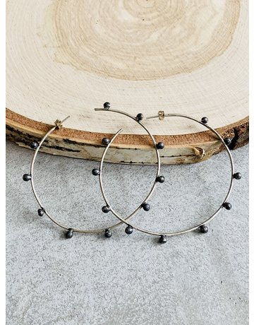 Brushed Sterling w/Oxidized Dot Hoops - Lg