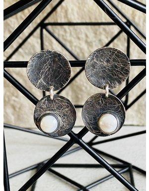 Oxidized Sterling Disk Earrings w/Pearls