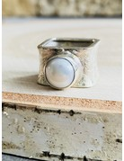 Brushed Sterling Square Pearl Ring - Size 8