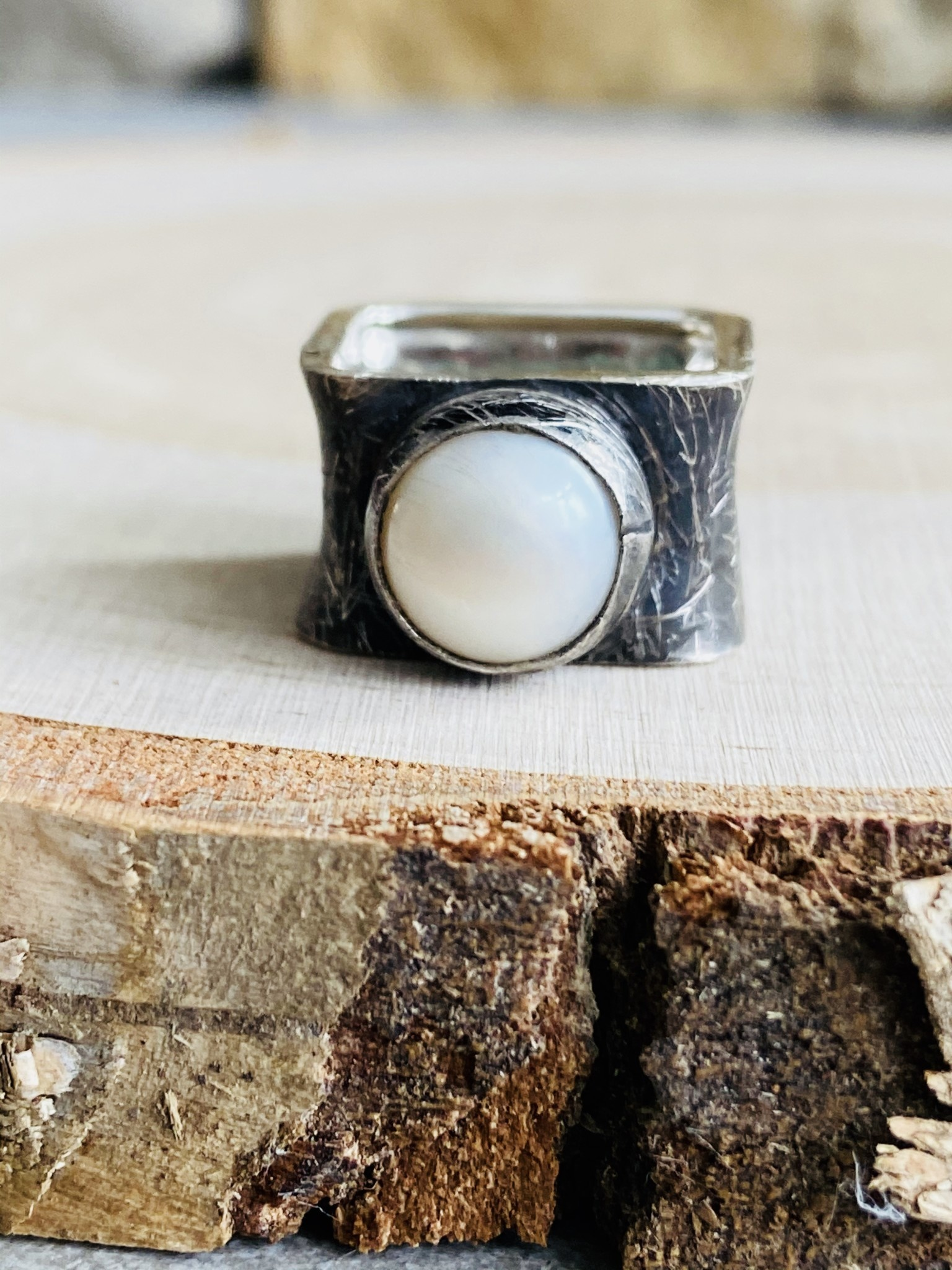 Brushed Oxidized Sterling Square Pearl Ring - Size 7