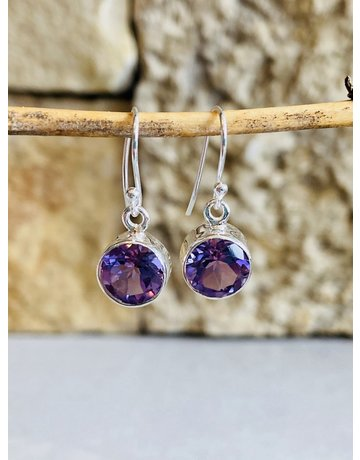 Amethyst Circle Drop Earrings