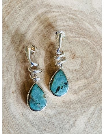 Twisty Turquoise Tear Drop Earrings