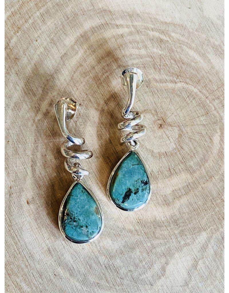 Twisty Turquoise Tear Drop Earrings