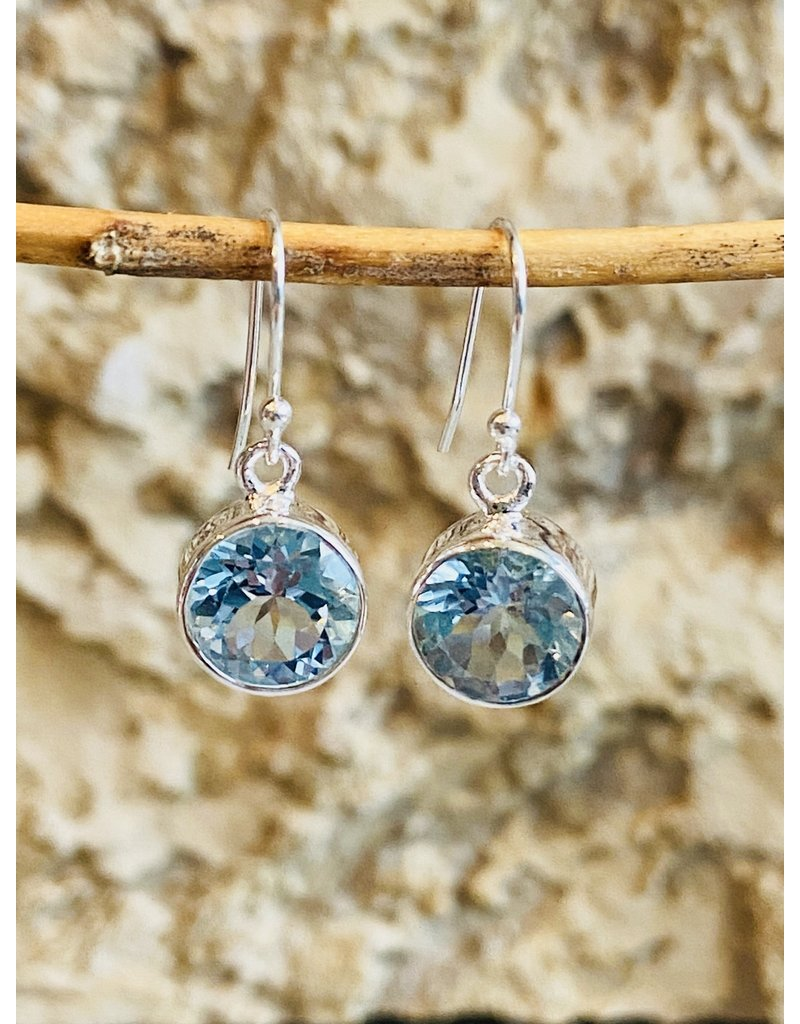 Blue Topaz Round Earrings