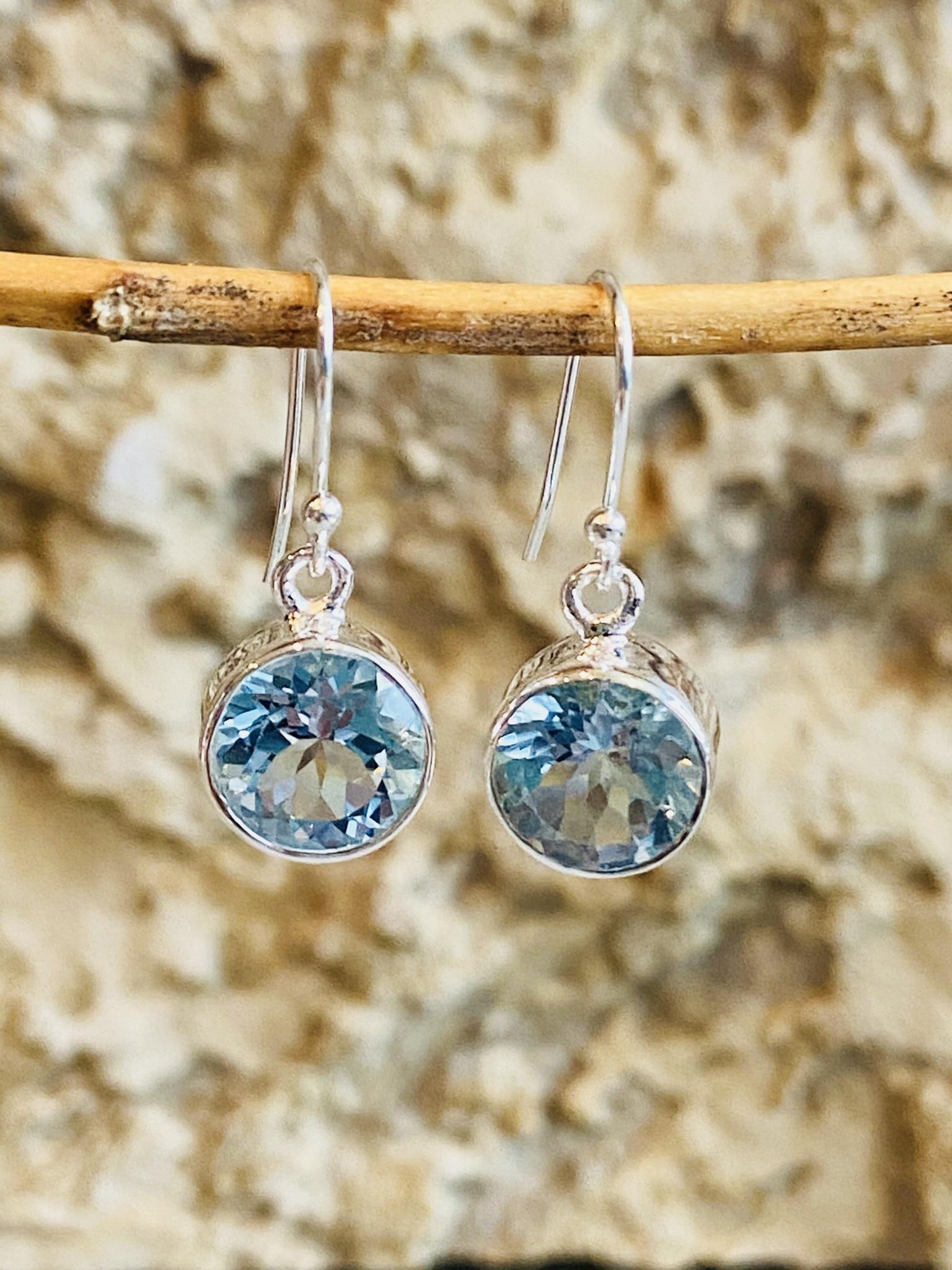 Blue Topaz Round Earrings