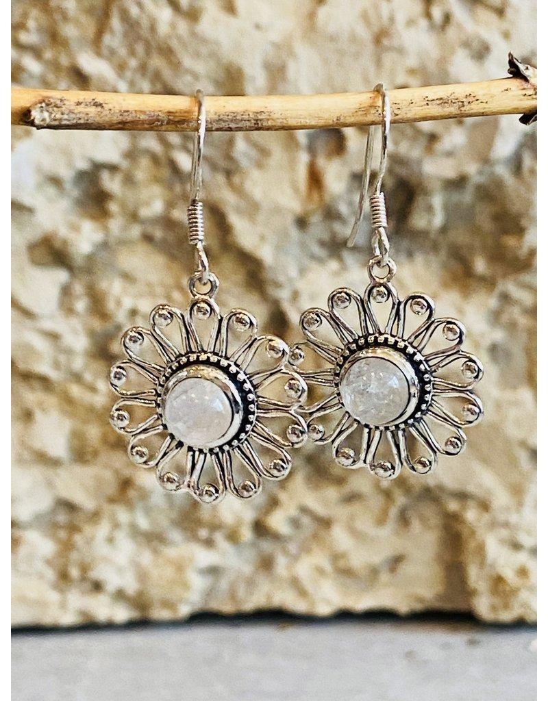 Rainbow Moonstone Flower Earrings