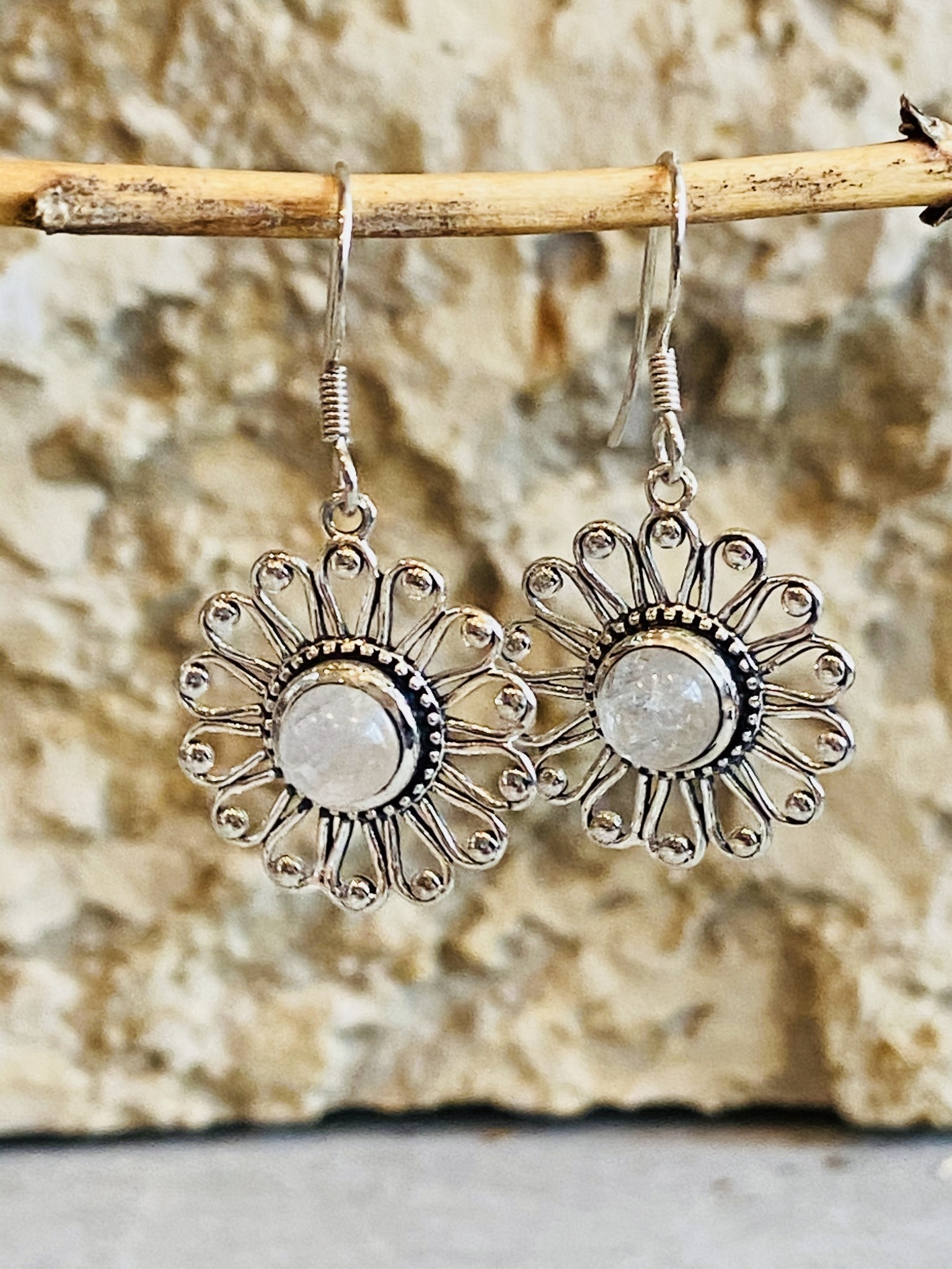 Rainbow Moonstone Flower Earrings