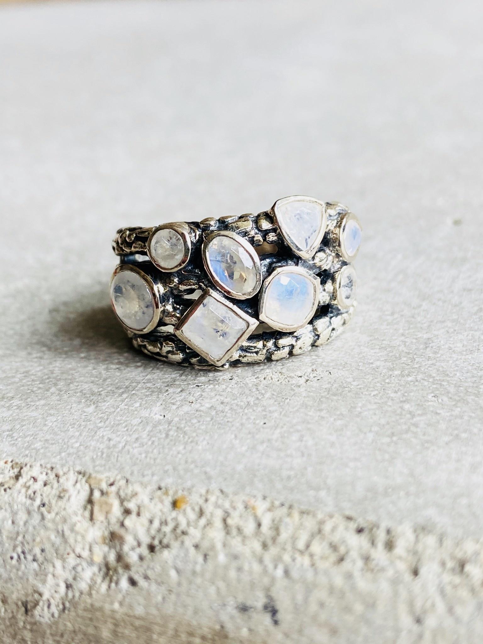 Multi Rainbow Moonstone Ring - Size 7