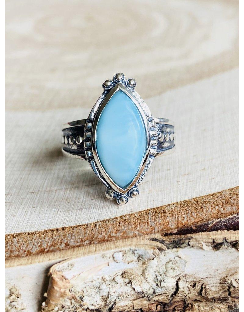Marquis Larimar Ring - Size 8