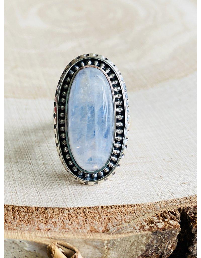 Rainbow Moonstone Oval Ring - Size 8