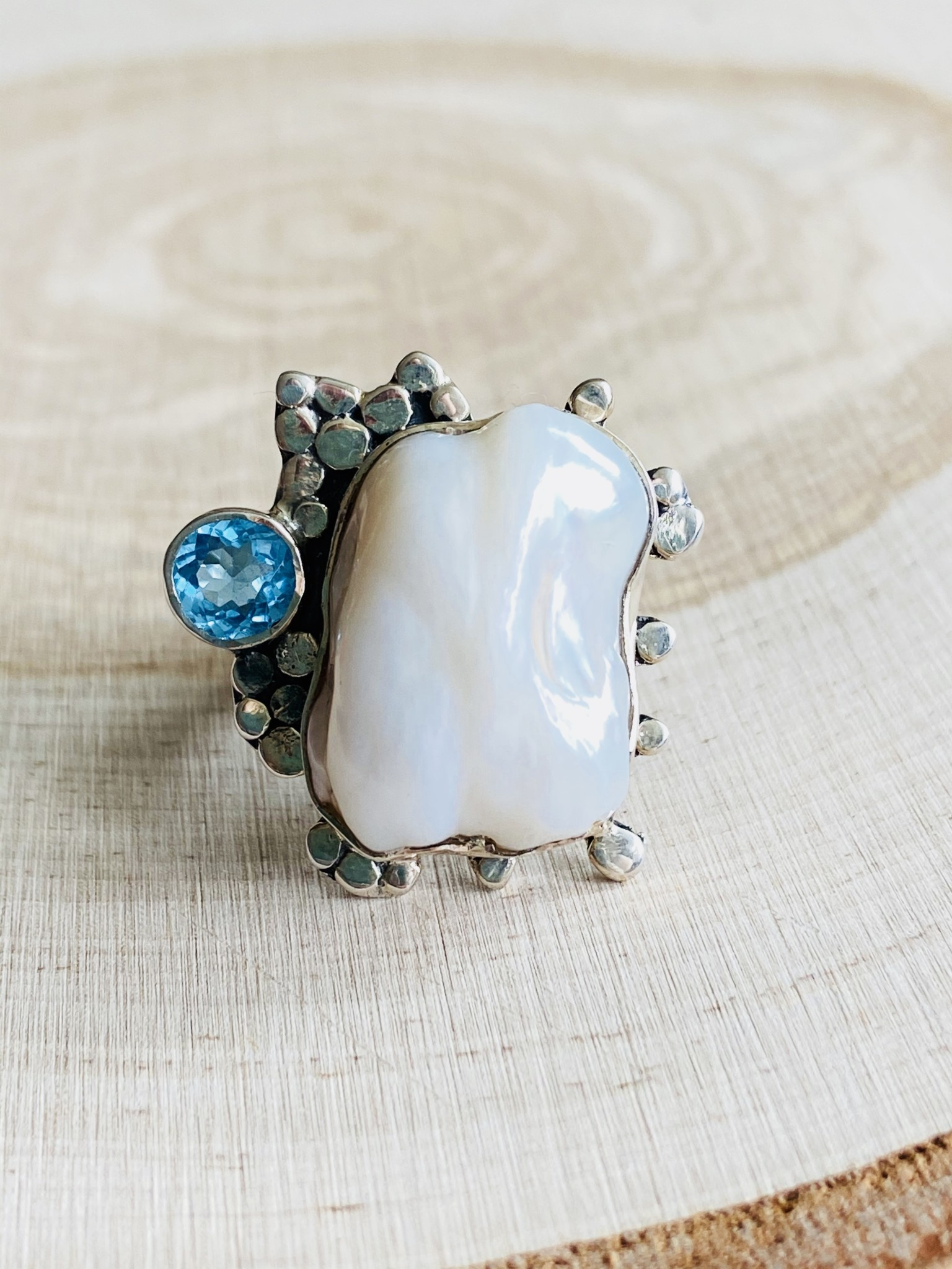 Pearl & Blue Topaz Ring - Size 7
