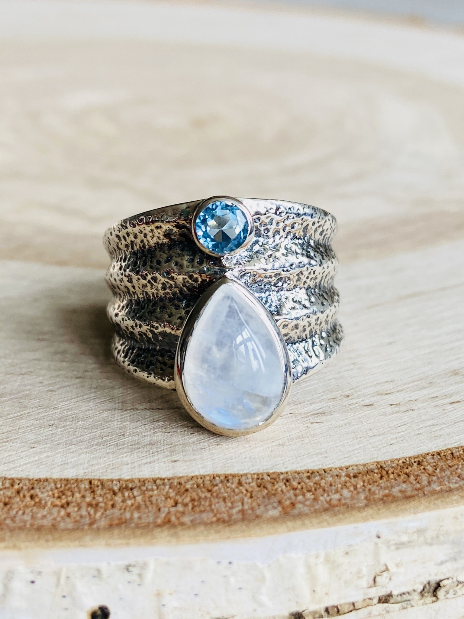 Tear Drop Moonstone & Blue Topaz Ring - Size 9