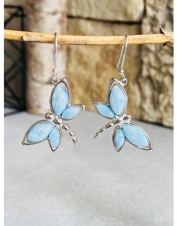 Larimar Butterfly Earrings