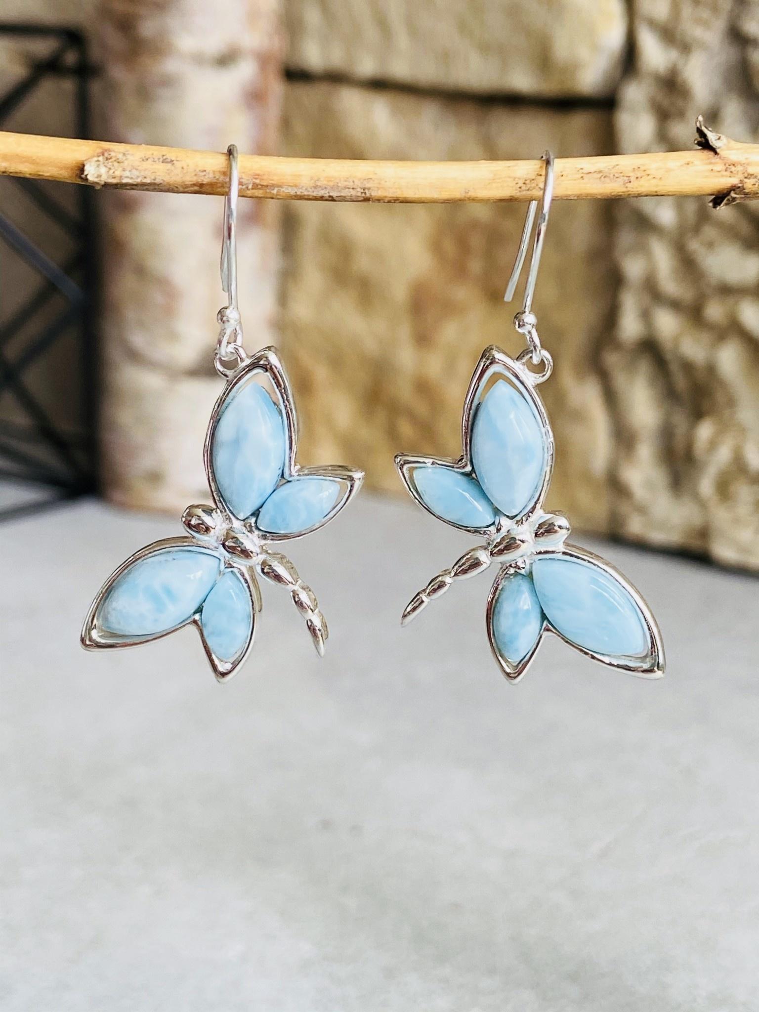 Larimar Butterfly Earrings