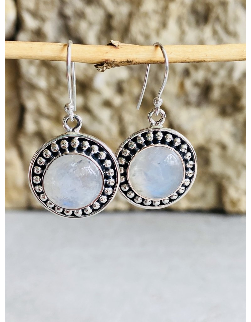 Moonstone & Sterling Dot Earrings