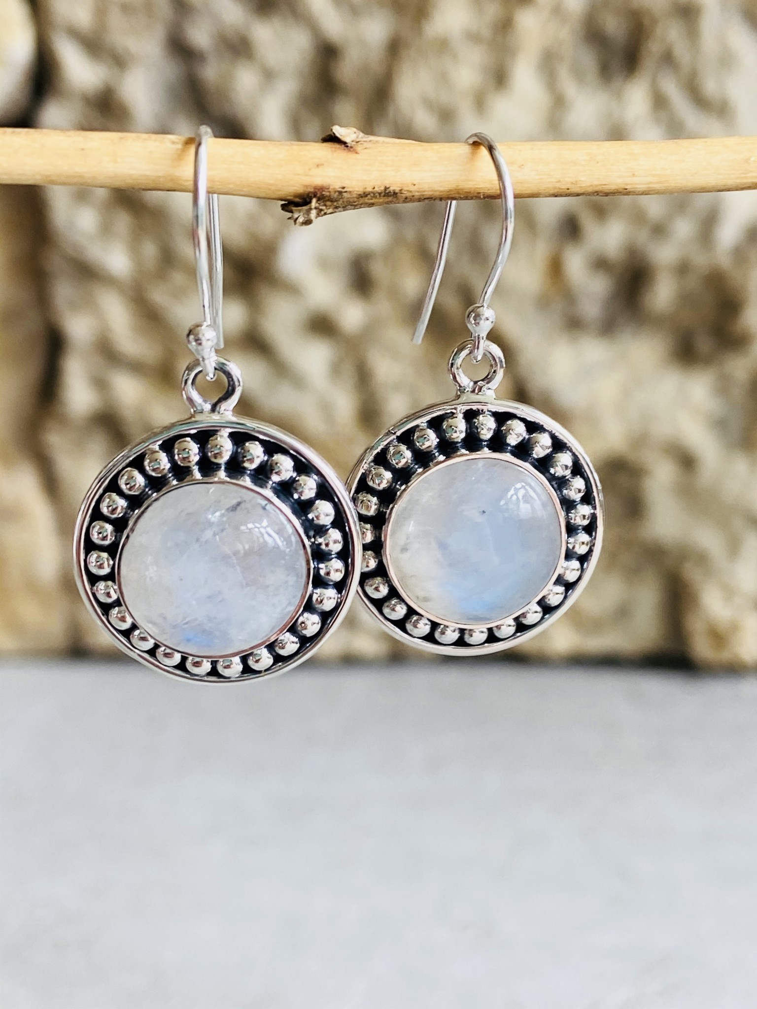 Moonstone & Sterling Dot Earrings
