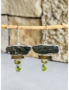 Moldavite, Tourmaline & Peridot Bar Earrings